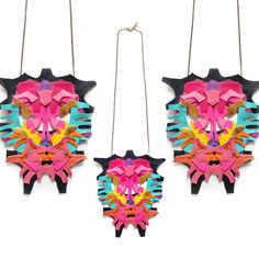 Neon Statement Necklace Leather Color Block Geometric Rorschach, Etsy.