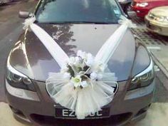 Bridal car with decoration decoration ribbon