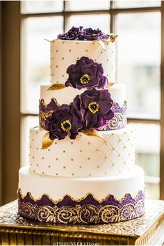 Eastern Indian Wedding Inspiration / Purple and Gold Wedding Inspiration / Cultural Wedding Ideas / wedding cake
