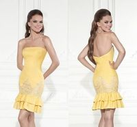Fashion Mini Cocktail Dress Yellow Strapless Off The Shoulder With Lace Appliques Ruffles Casual Dress Backless New Eve Gowns