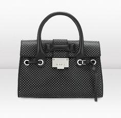 Jimmy Choo /Rosalie S Black Studded Grainy Calf Handbag