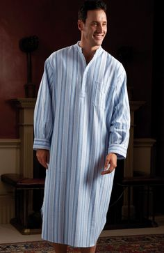 f84a3a031e This cosy longer length nightshirt in soft brushed cotton has a classic  grandad collar button placket