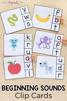 Alphabet Beginning Sounds Clip Cards Beginning sounds clip cards help children learn letters, letter sounds and develop fine motor skills. This literacy center idea is perfect for preschool and kindergarten. Kindergarten Lesson Plans, Kindergarten Learning, Kindergarten Centers, Preschool Learning Activities, Kids Learning, Beginning Sounds Kindergarten, Preschool Phonics, Preschool Alphabet, Jolly Phonics