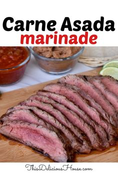 Authentic Carne Asada Marinade recipe with garlic, citrus, and onions. Make delicious carne asada street tacos with this simple recipe. #carneasada # streettacos Easy Holiday Recipes, Healthy Dinner Recipes, Diet Recipes, Cooking Recipes, Barbecue Recipes, Grilling Recipes, Bbq, Make Ahead Meals, Easy Meals