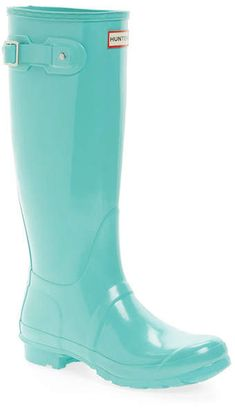 Tiffany Blue Color, Hunter Original, Hunter Rain Boots, Waterproof Boots, Me Too Shoes, Fashion Shoes, Shoe Boots, High Gloss, Nordstrom Rack