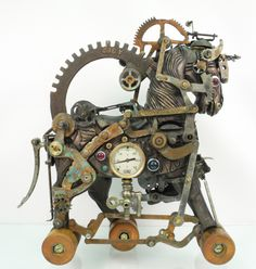 """War Horse"" assemblage/sculpture of found vintage and antique objects by Assemblique™"