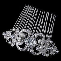 Vintage Style Rhodium Silver Tone Rhinestone Crystal Diamante Ivory Pearl Hair Comb