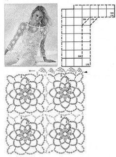Crochet Bolero Pattern, Gilet Crochet, Crochet Motif Patterns, Crochet Shell Stitch, Crochet Diagram, Crochet Chart, Crochet Lace, Crochet Stitches, Crochet Shrugs