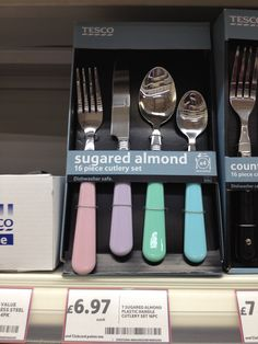 My new pastel coloured cutlery from Tesco!!!!