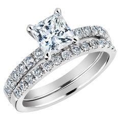 Princess Cut Diamond Engagement Ring and Wedding Band Set 1.50 Carat (ctw) in 14K White Gold