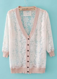 Nude Long Sleeve Embroidery Sheer Sweater
