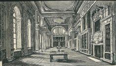 19e eeuwse gravure van de bibliotheek in het paleis Blenheim