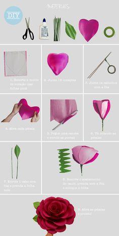 DIY rosa de papel crepom gigante para casamentos e decoração