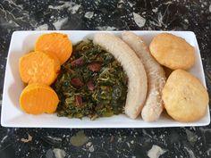 Callaloo with Bacon, Fried dumplings, Sweet Yams and Boiled Green Bananas via the IamAJamaican Facebook group's Sunday meal share.