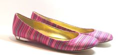 Nine West Guzzler Ballet Flat Shoes, Pink Stripe, Size  8.5 Medium #NineWest #BalletFlats http://stores.ebay.com/ECLECTIC-GOODIES-EG
