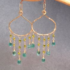 Hammered drop hoops with peridot and apatite by CalicoJunoJewelry
