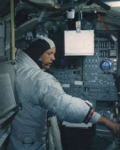Apollo 11 Commander Neil Armstrong inside the Lunar Landing Module.