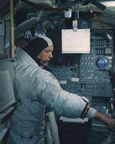 Apollo 11 Commander Neil Armstrong inside the Lunar Landing Module.