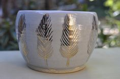 gold feather bowl by picklepottery on Etsy, $34.00
