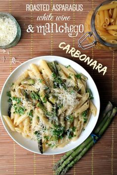 It looks super simple, and it IS, but it is packed with flavor. Wine reduction, roasted garlic and manchego coat every bite of this vegetarian carbonara deliciously.