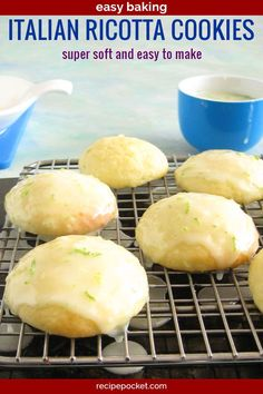 These Italian easy ricotta cookies are and adaptation from Giada's recipe. Made with healthy homemade ricotta cheese these cookies are soft and moist. Italian Ricotta Cookies, Lemon Ricotta Cookies, Italian Cookies, Lemon Cookies, Delicious Cookie Recipes, Easy Cookie Recipes, Easy Desserts, Dessert Recipes, Sweet Recipes