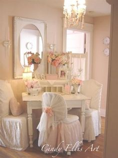 Vintage Shabby Pink! do this to the two chairs in Emily's room.