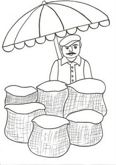 greengrocer-coloring-pages-for-kids « Preschool and Homeschool Art Drawings For Kids, Easy Drawings, Art For Kids, Art N Craft, Autumn Art, Colouring Pages, Kids Education, Preschool Crafts, Fall Crafts