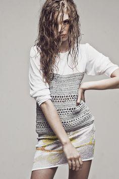 Ekaterina Kukhareva's 'Hand Crocheted White and Grey Lace Top ' Moda Crochet, Crochet Fabric, Crochet Cardigan, Hand Crochet, Crochet Top, Crochet Designs, Crochet Patterns, Knit Fashion, Diy Clothing