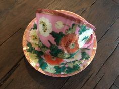 Antique Meiji Era Japanese Tea Cup & Saucer Set Signed Dai Nippon Pink Hand Painted Eggshell Porcelain w Poppies