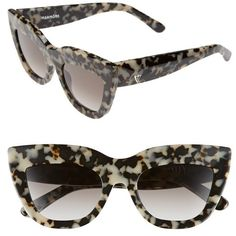 Valley 'Marmont' 52mm Cat Eye Sunglasses (270 AUD) ❤ liked on Polyvore featuring accessories, eyewear, sunglasses, snow leopard tortoise, tortoise cat eye glasses, cat eye sunglasses, tortoise shell cat eye sunglasses, cat eye glasses and acetate sunglasses