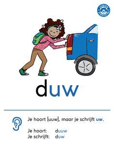 Bij woorden die eindigen op de letters -uw, hoor je -uuw. Bijvoorbeeld bij het woord: duw. Je hoort duuw, maar je schrijft duw. Deze overzichtskaart laat de spellingregel voor deze klankwoorden duidelijk zien. Zo kun je deze regel makkelijk aanleren en onthouden. Download de kaart en gebruik hem tijdens de lessen spelling. Learn Dutch, Dutch Words, Dutch Language, School Hacks, Child Development, Grammar, Vocabulary, Einstein, Children
