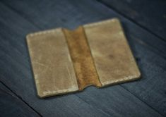 Handmade Leather Card Holder. Genuine pull up leather.
