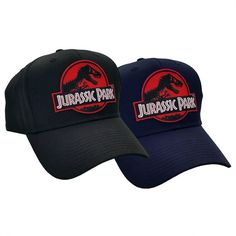 992663bd58f Jurassic Park Movie Red Logo Sci Fi Patch Adjustable Snapback Black or Navy Cap  Hat