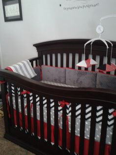 Custom bedding in red, black and grey with chevron, dots and stripes