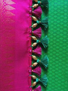 Saree Kuchu New Designs, Saree Tassels Designs, Kids Blouse Designs, Hand Work Blouse Design, Hand Embroidery Design Patterns, Hand Embroidery Dress, Designer Blouse Patterns, Crochet Cord, Crochet Lace Edging