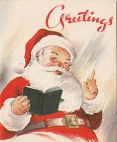 Vintage Greeting Card Christmas Santa Claus Book An Artistic Card v196