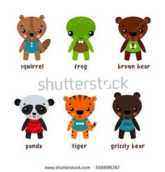 Cartoon frog and grizzly bear, anuran and toad, squirrel and bun, panda and tiger, koala and chipmunks. Smiling cartoon characters in skirts, children pets. Mascot and zoology, woodland theme
