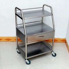 Hospital Medical Dental Lab Trolley Carts One Drawer 3 Layers Stainless Steel SH Dental Hospital, Medical Dental, Cal Flame, Trolley Cart, Hospital Design, Bed Rails, Bed Mattress, Drawers, Stainless Steel