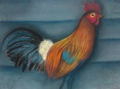 Rooster done in dry pastel