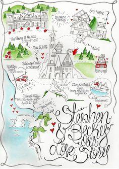 Custom Ilrated Map Wedding Mapscard Weddingilrated Mapsreception