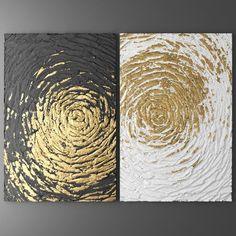 "Coastal Wall Art Abstract Beach Art Split Canvas Wall Art Canvas Art Nautical Silver and Gold Wall Decor for Living Room ""Beckon"" Diy Wall Art, Canvas Wall Art, 3d Wall, Diy Art, Diy Canvas, Gold Leaf Art, Texture Painting, 3d Painting, Texture Art"