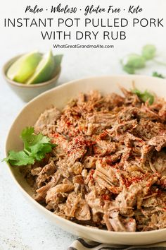 ThisInstant Pot Whole30 Pulled Pork with Dry Rub is full of flavor and easy to make, and you can repurpose it to use in a variety of ways! It's also paleo, low carb, and keto-friendly. #paleo #glutenfree #instantpot #lowcarb #keto #lchf #grainfree #dairyfree #batchcooking via @whatggmaate
