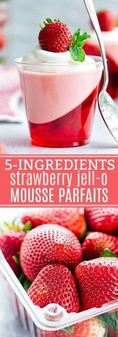 EASY and beautiful double-layered strawberry jell-o parfait cups -- strawberry jell-o on bottom and a strawberry jell-o mousse on top. Jello Desserts, Jello Recipes, Mini Desserts, Easy Desserts, Delicious Desserts, Yummy Food, Jello Salads, Plated Desserts, Jello Parfait