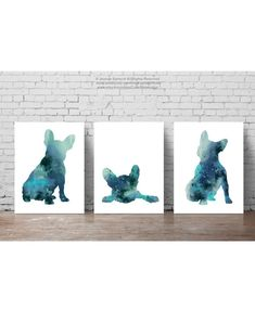 French Bulldog Silhouette Marbled Dark Teal Frenchie Art