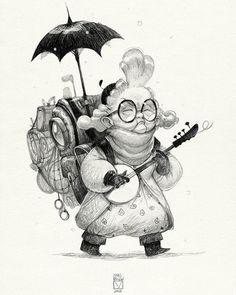 And again 019 #sketchtober #penciltober #challenge #sketch #character_design #old #granny #bladmoran да кстати продолжу тут кое че. Итак перерисовала одну старушку на бумаге:З Я хотела ее более менее законченную, а не тот корявый набросок, что на компе был)