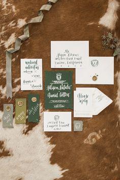 green and white wedding invitations - photo by Samantha Jay Photography http://ruffledblog.com/swiss-chalet-wedding-inspiration