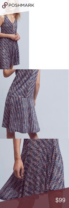"""New. Anthropologie knit dress L rayon cami lined The shade is predominant blue with touches of purple and shine Poly and acrylic knit Sits hi-low  Bust 42"""" Long g 42"""" maeve anthropologie Dresses Midi"""