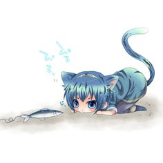 animal ears blue dress blue eyes blue hair boooo-im cat ears cat tail... ❤ liked on Polyvore featuring anime, backgrounds, manga, chibi, filler and effect