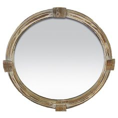 Distressed wood wall mirror with porthole-inspired design.     Product: Wall mirror    Construction Material: MDF...