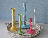 Items similar to Colorful Set of 7 Confetti Shabby Chic Candle Sticks on Etsy. , via Etsy.